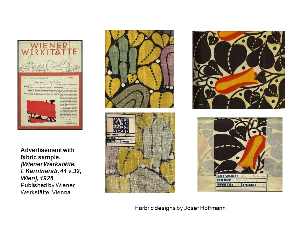 Advertisement with fabric sample, [Wiener Werkstätte, I. Kärntnerstr. 41 v.32, Wien], Published by Wiener.