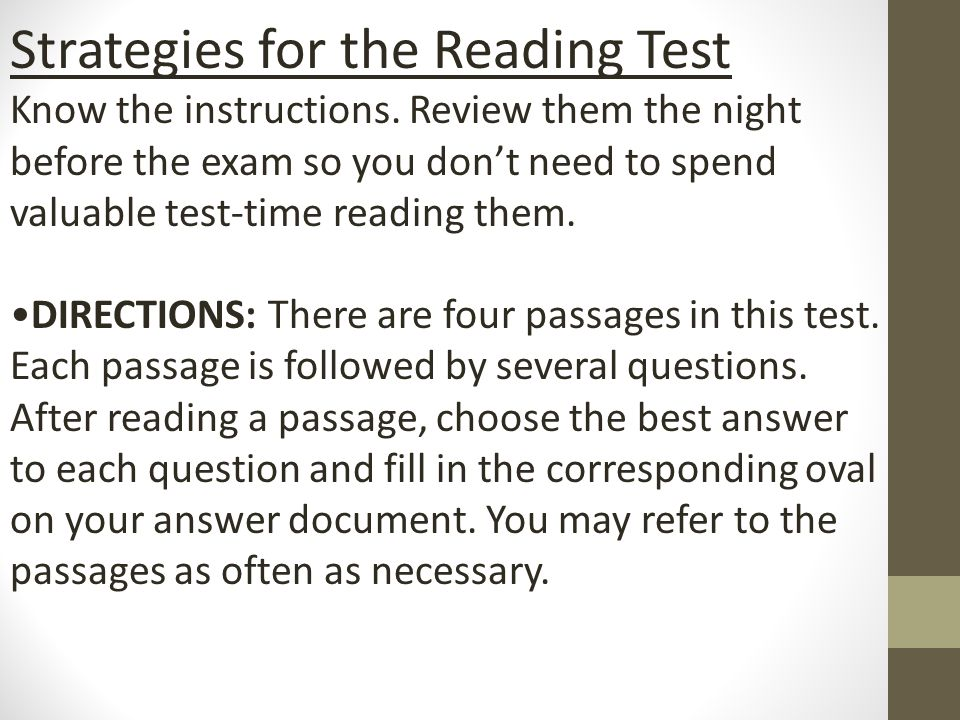 Act Reading Test Preparation Ppt Download