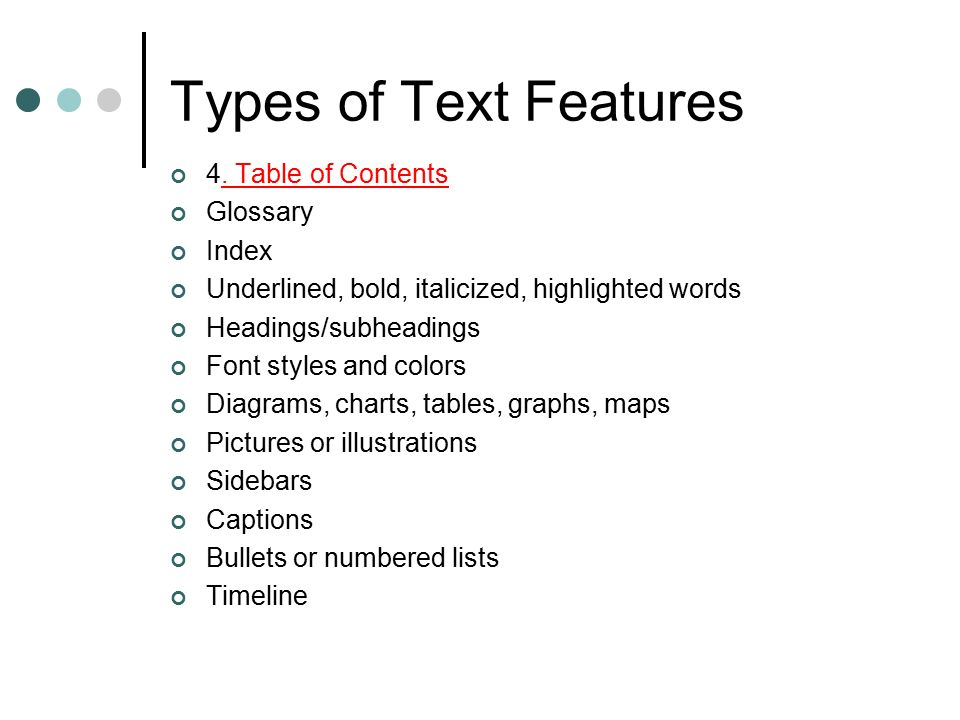 glossary for children text feature. Glossary For Children Text Feature. Types Of Features 4. Table  Contents Index Feature ,