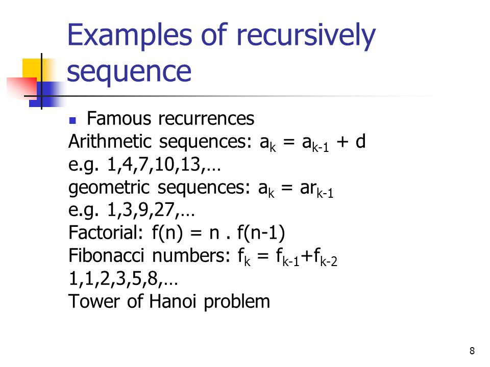 RECURRENCE Sequence Recursively defined sequence - ppt video online download