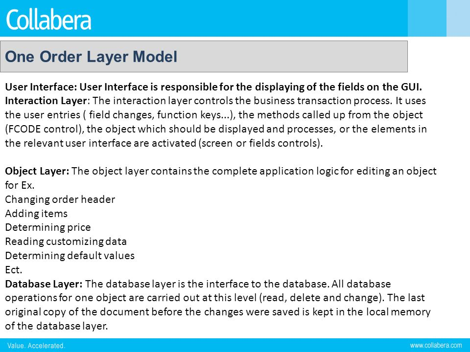 One Order Layer Model User Interface: User Interface is responsible for the displaying of the fields on the GUI.