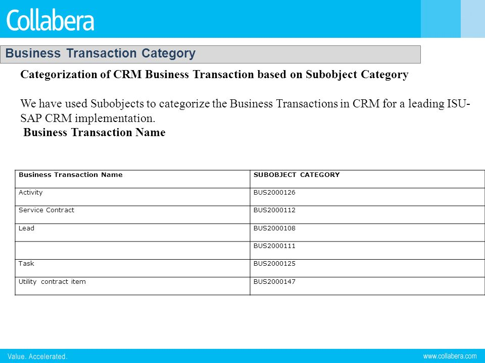 Business Transaction Category