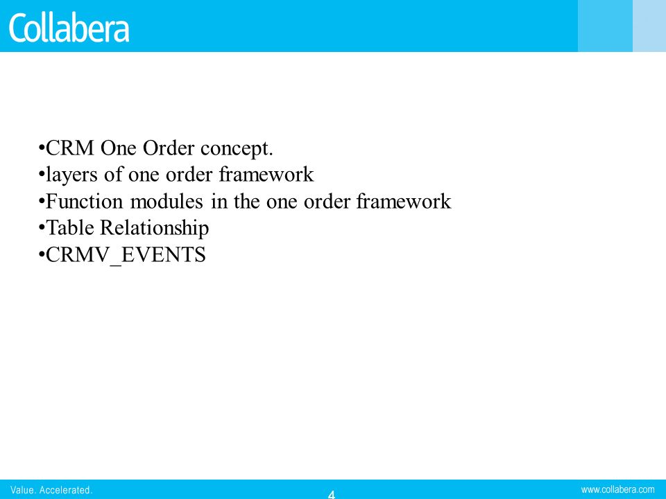 CRM One Order concept. layers of one order framework. Function modules in the one order framework.