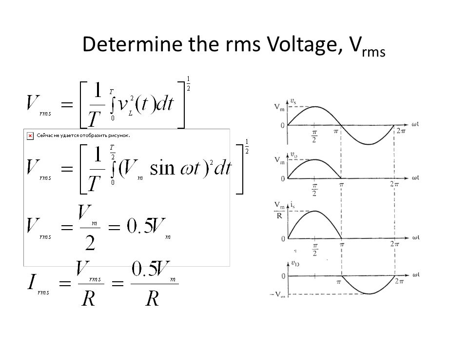 Rms voltage of a sinusoidal ac waveform.