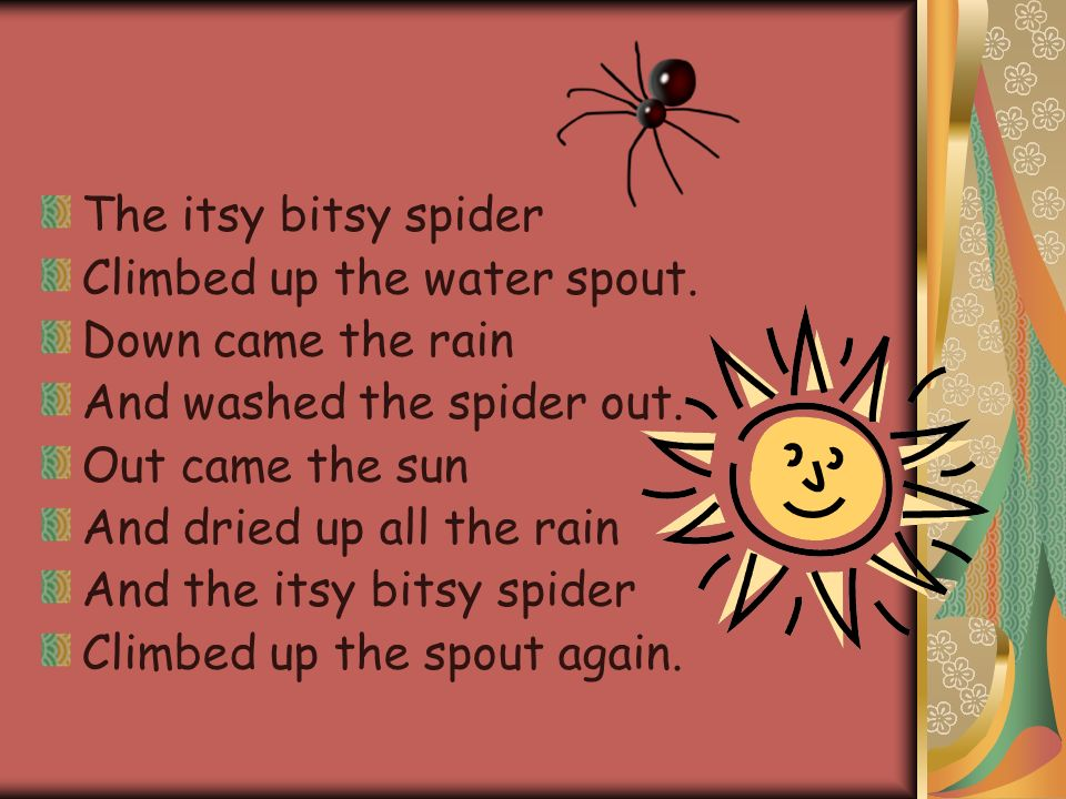 The Itsy Bitsy Spider Climbed Up Water Spout Down Came Rain And