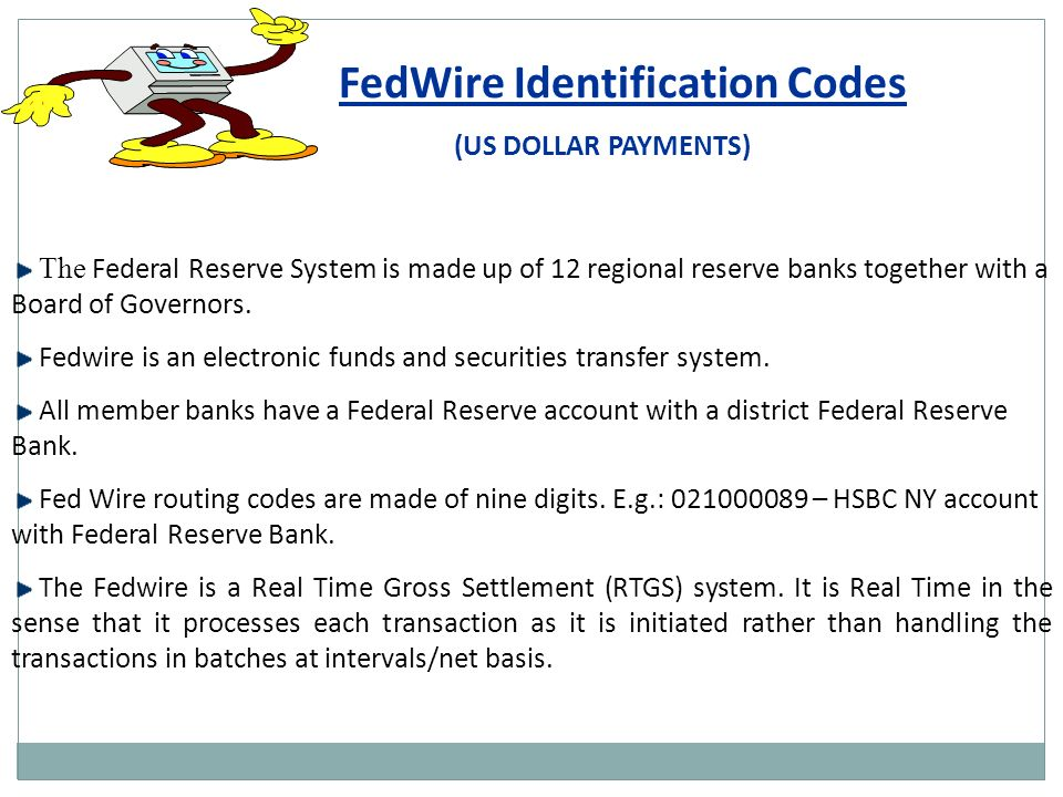 35 fedwire identification codes