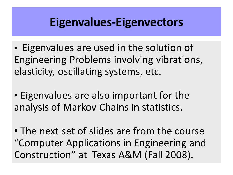 applications of eigenvalues and eigenvectors in electrical engineering