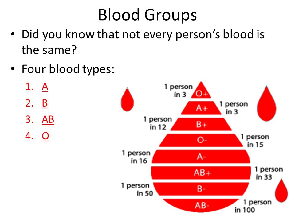 Blood Groups Did you know that not every person's blood is the same