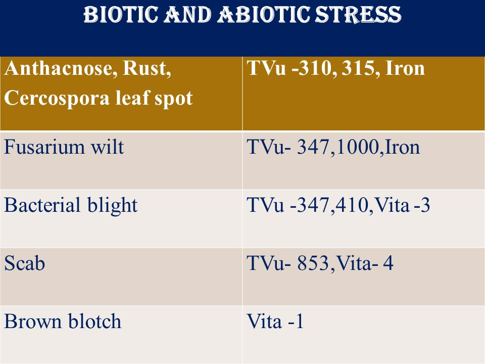 Biotic and Abiotic stress