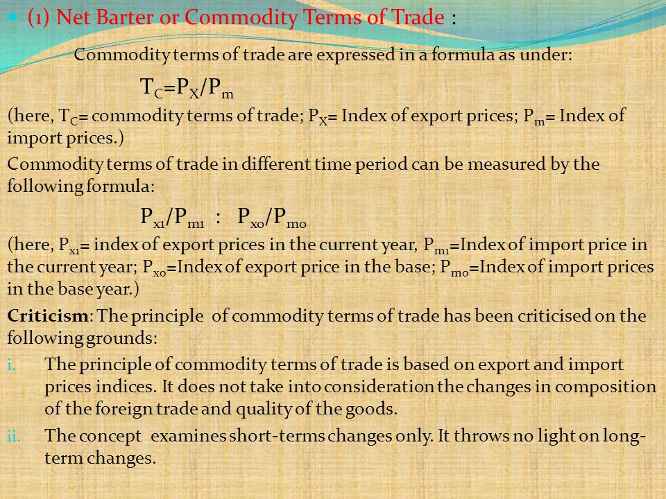 formula for terms of trade