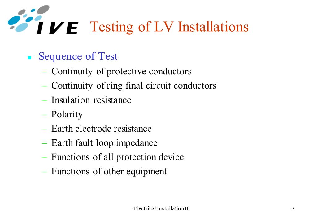 Testing of Low Voltage Installations - ppt video online download