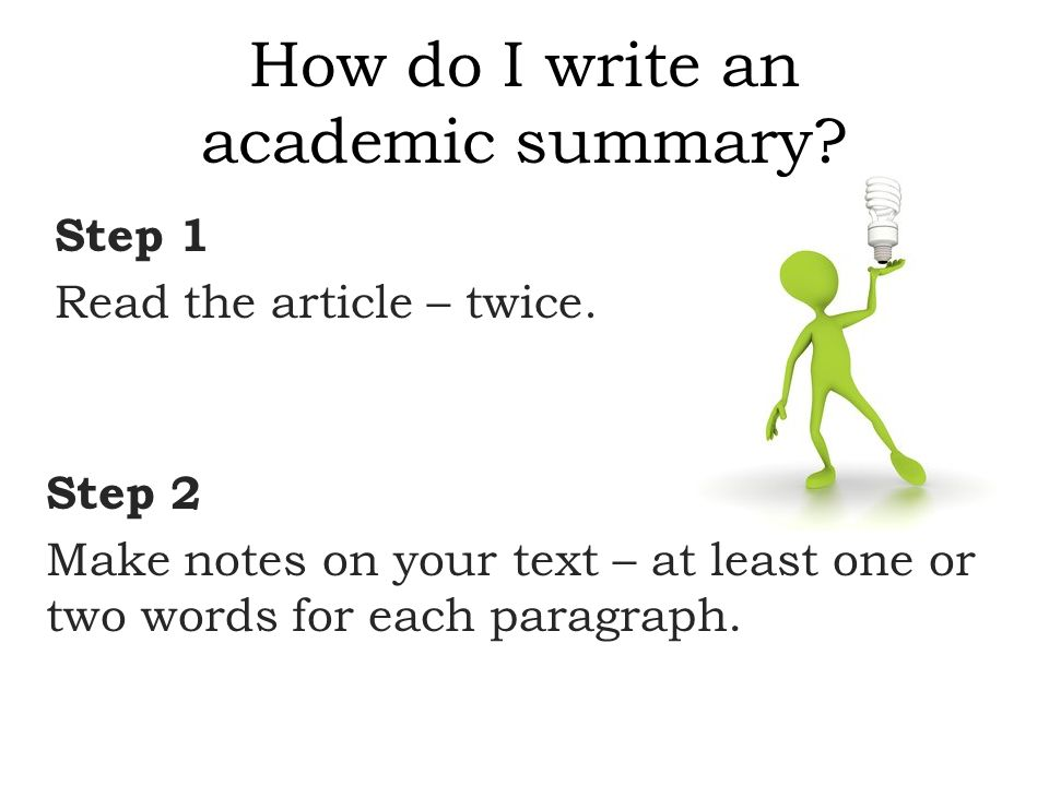 how to write a summary of an academic article