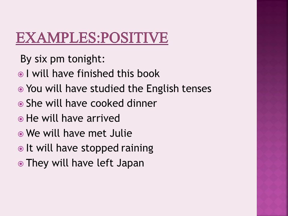 Future perfect tense (examples, solutions videos).