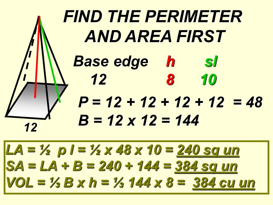 FIND THE PERIMETER AND AREA FIRST
