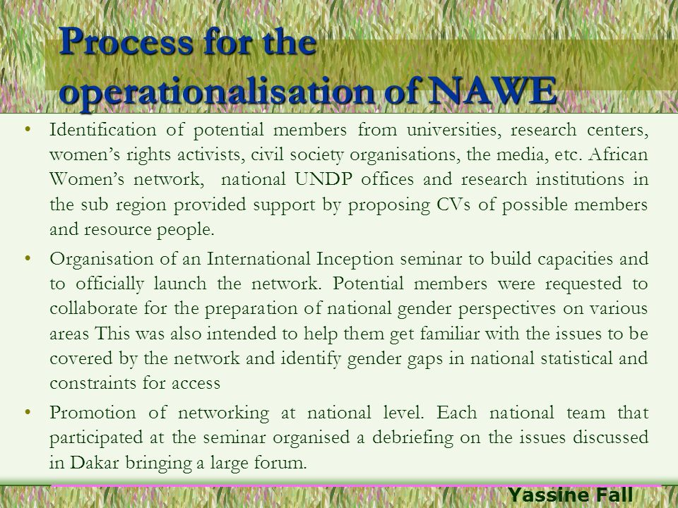 Process for the operationalisation of NAWE