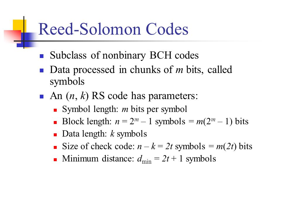 Reed-Solomon Codes Subclass of nonbinary BCH codes