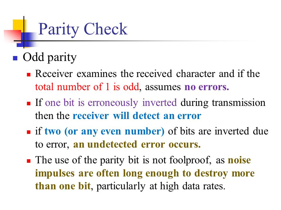 Parity Check Odd parity