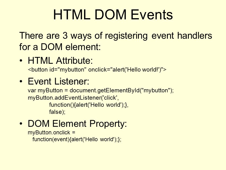 HTML DOM The Document Object Model is a Javascript class
