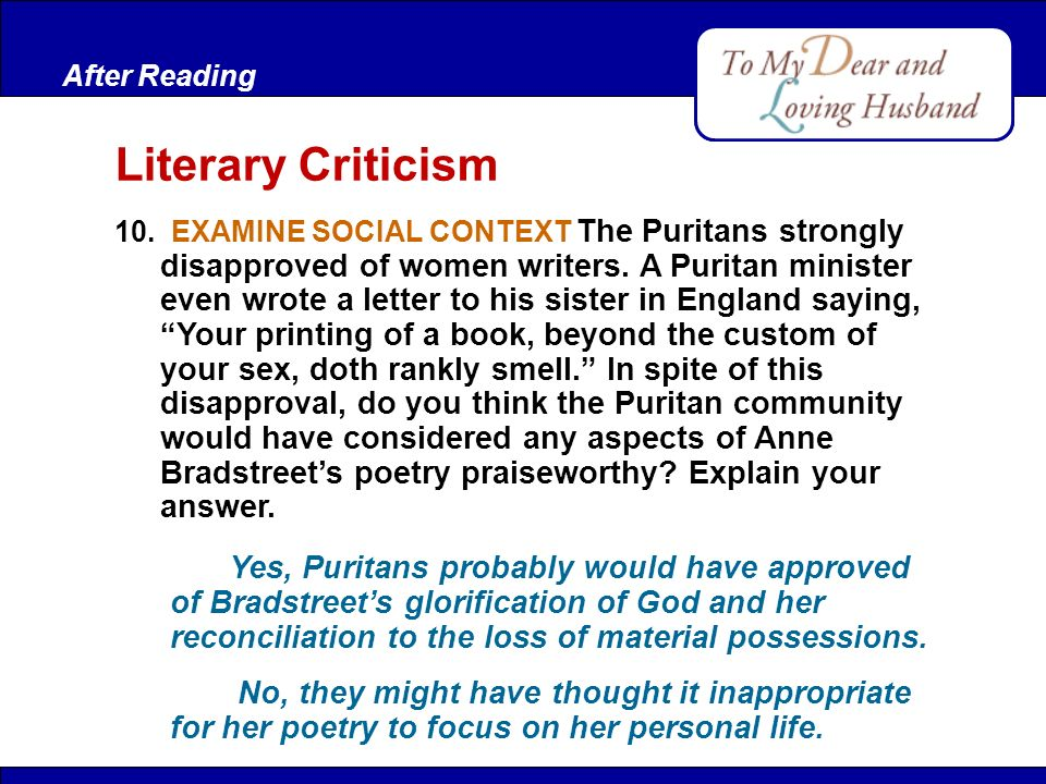 Comprehension Bradstreet values her husband's love more than gold ...