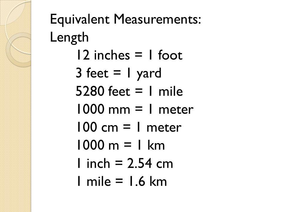 6 Equivalent Measurements Length  Foot  Yard  Mile  Meter  Meter  Km