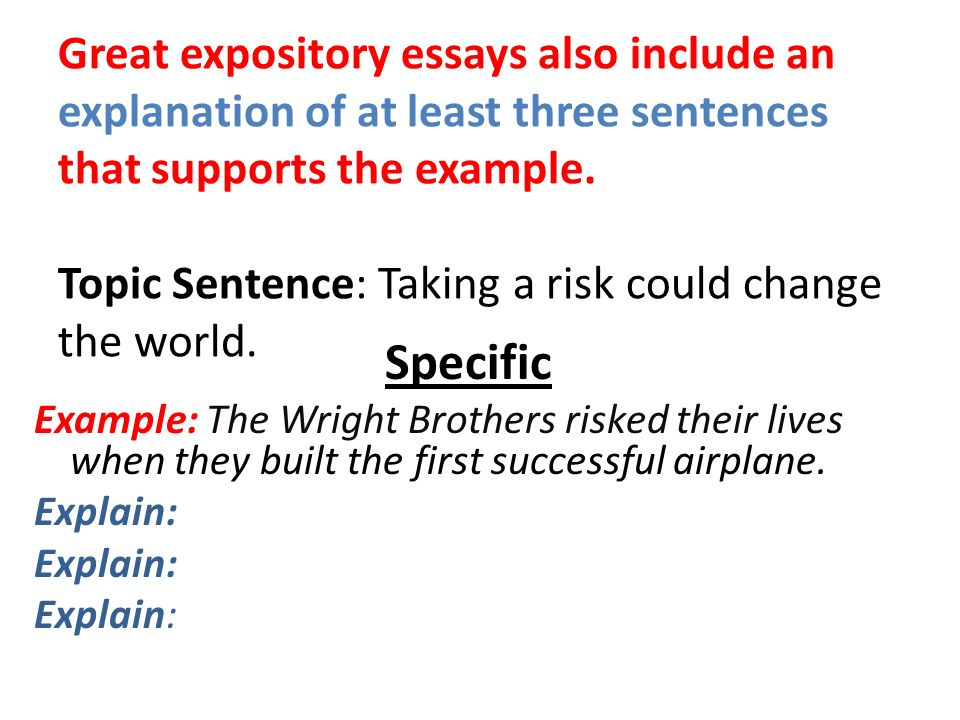 Essays On Science Fiction Great Expository Essays Also Include An Explanation Of At Least Three  Sentences That Supports The Example Essay Good Health also Science Essay Questions Expository Essay Examples And Explanations  Ppt Video Online Download Sample Essays For High School Students