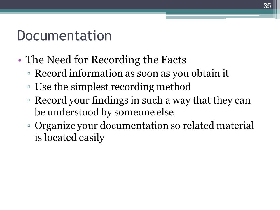 how to record the information we need