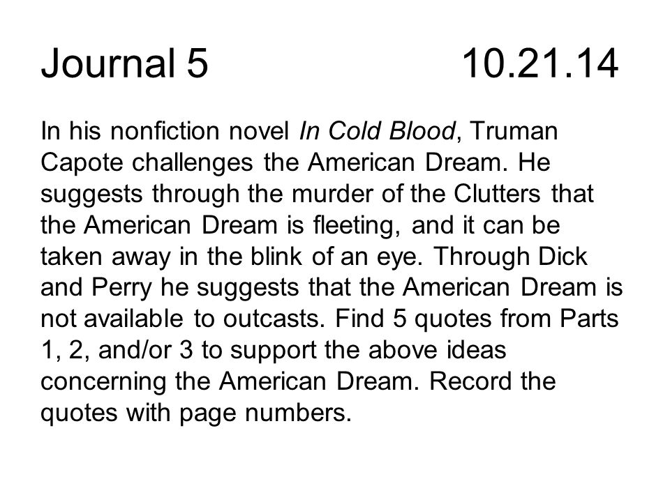 Journal In Part I Of In Cold Blood Author Truman Ppt Download
