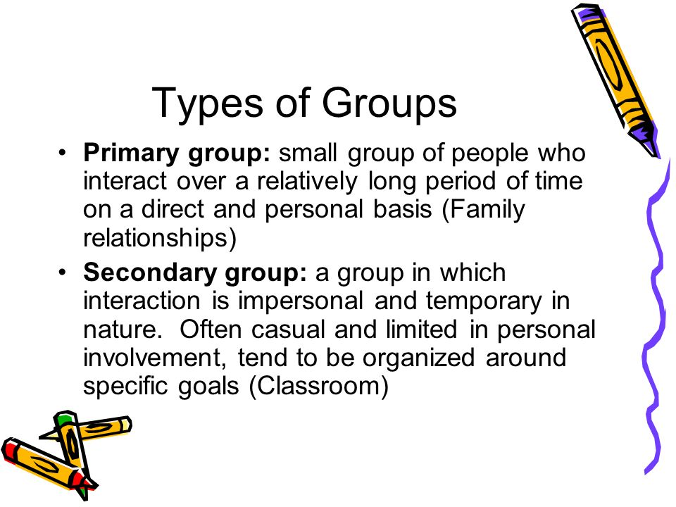 primary secondary groups