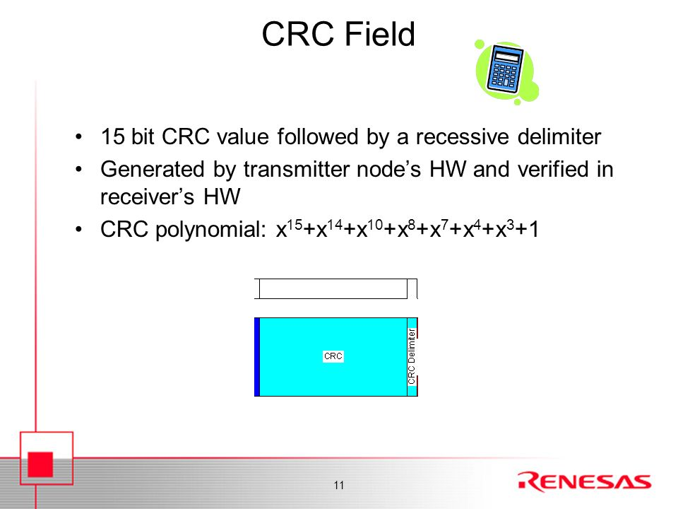 CRC Field 15 bit CRC value followed by a recessive delimiter