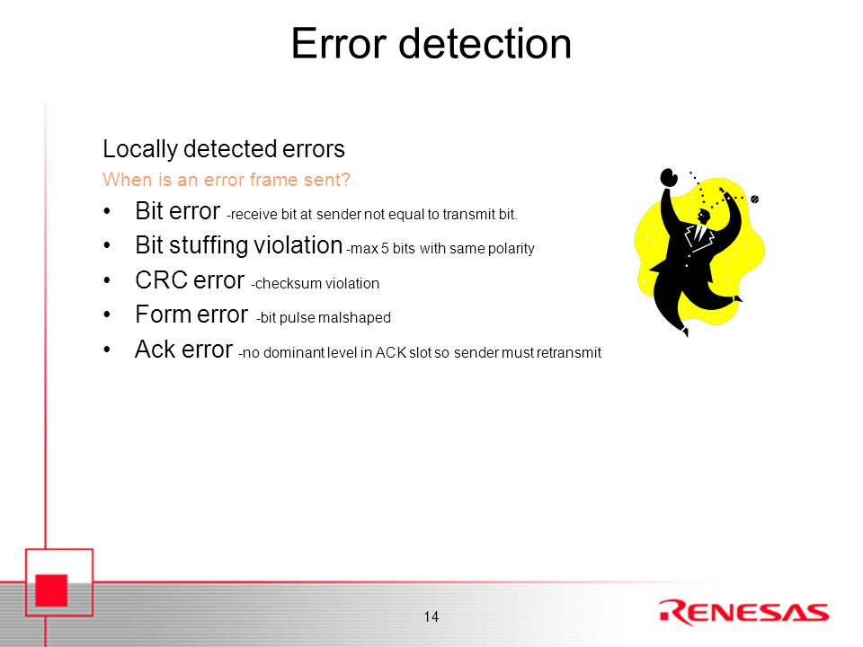 Error detection Locally detected errors