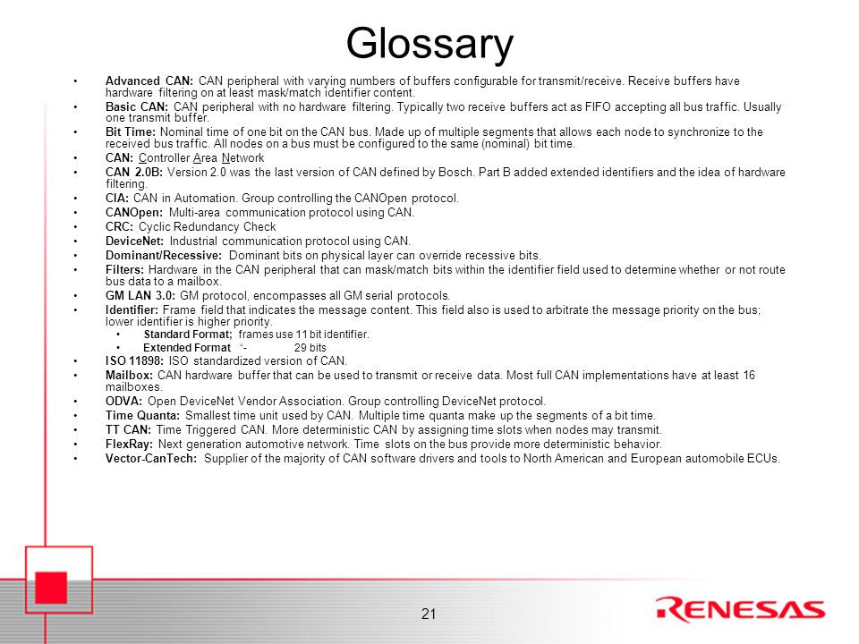 Glossary Finally, here are some CAN 'buzzwords'.