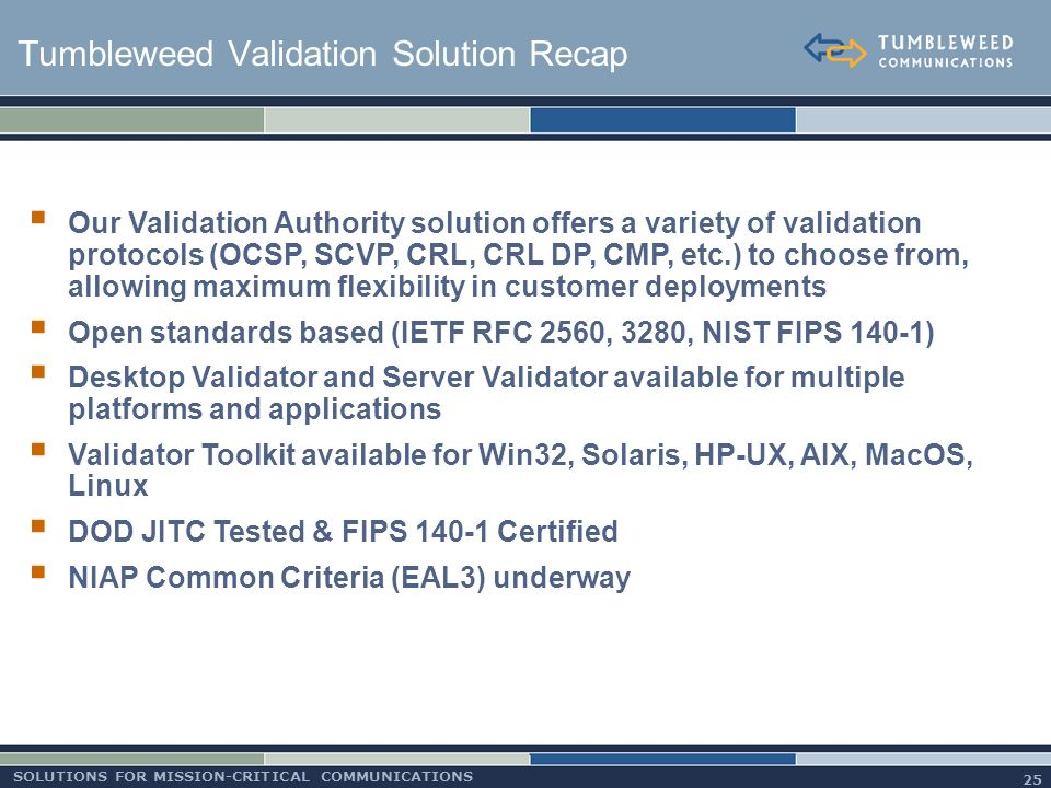Certification Path Processing in the Tumbleweed Validation Authority