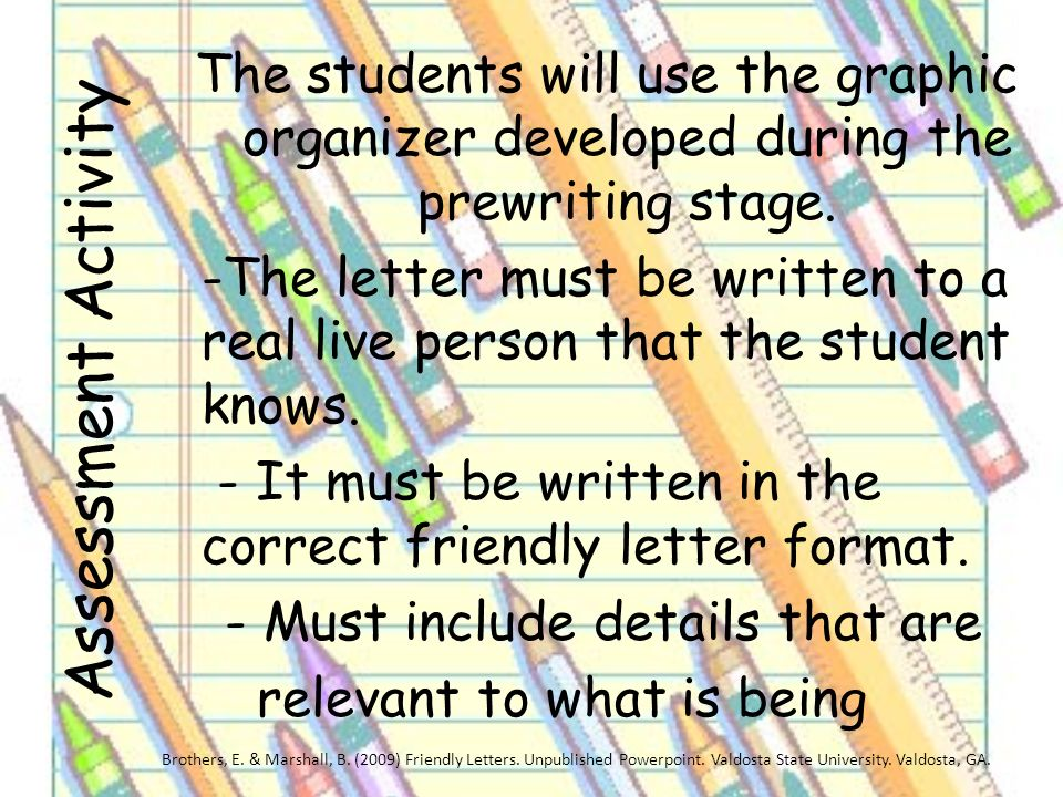 the students will use the graphic organizer developed during the prewriting stage the letter