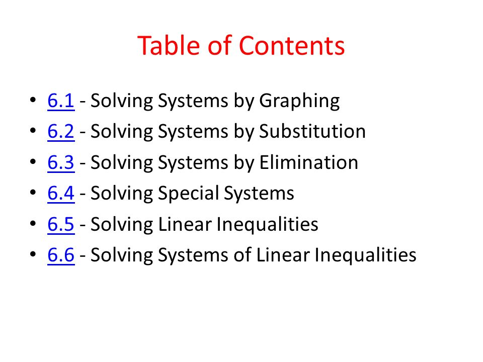 Chapter 6 Systems Of Equations And Inequalities Ppt Download
