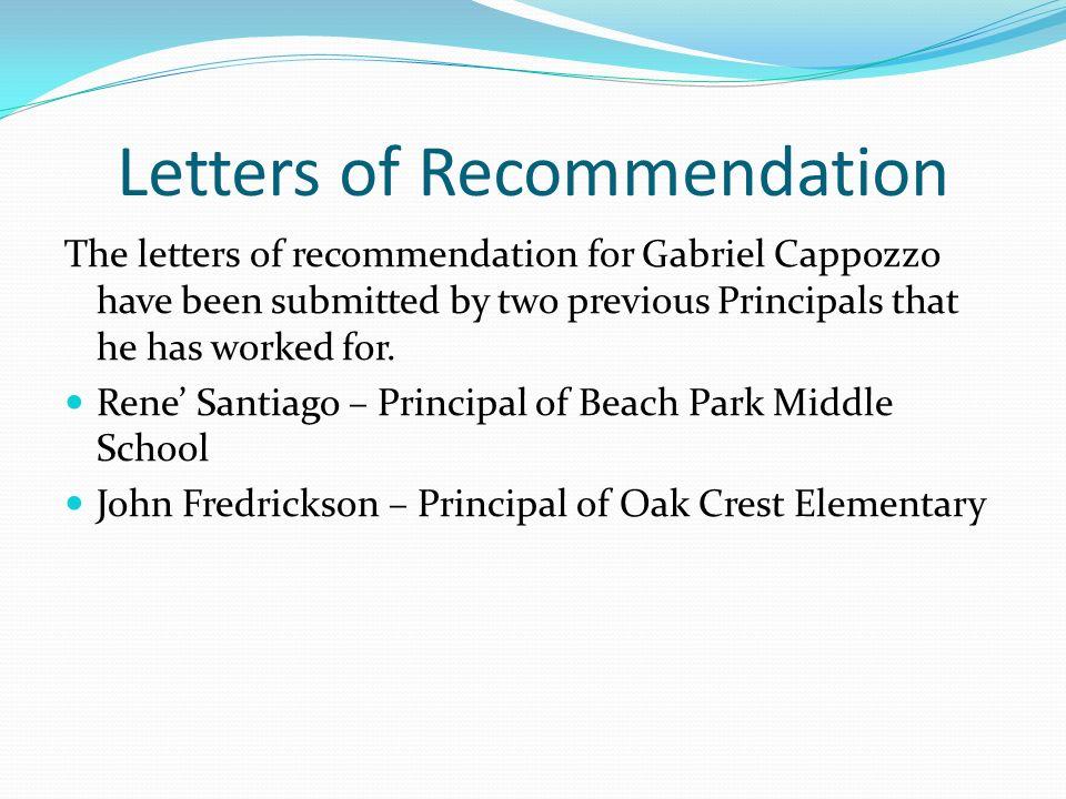 High School Principal Letter Of Recommendation: Gabriel Cappozzo Teacher Portfolio