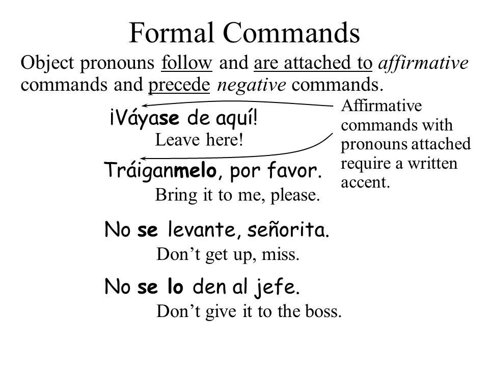 3/24/2017 Formal Commands. Object pronouns follow and are attached to affirmative commands and precede negative commands.