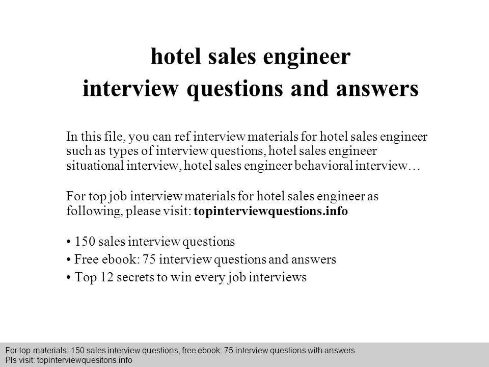 hotel sales engineer interview questions and answers
