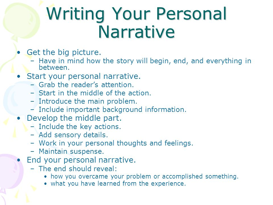 how to begin a personal narrative