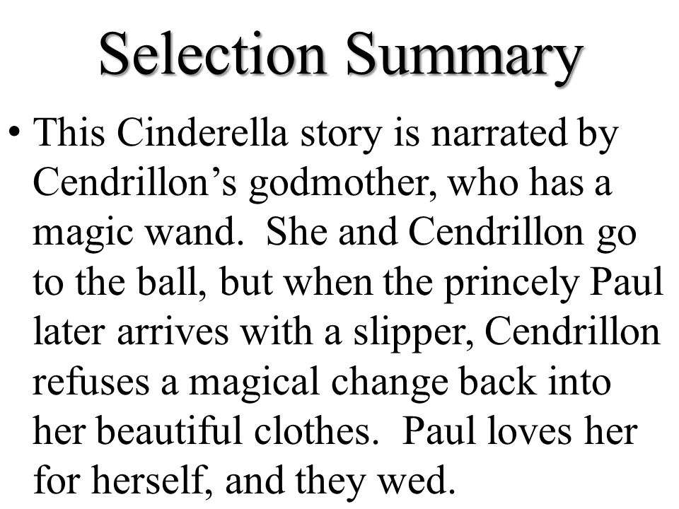 summary of cinderella story with pictures