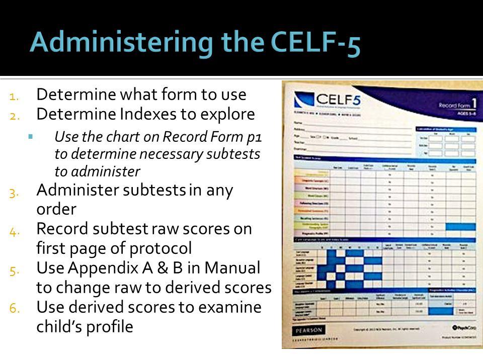 celf scoring manual