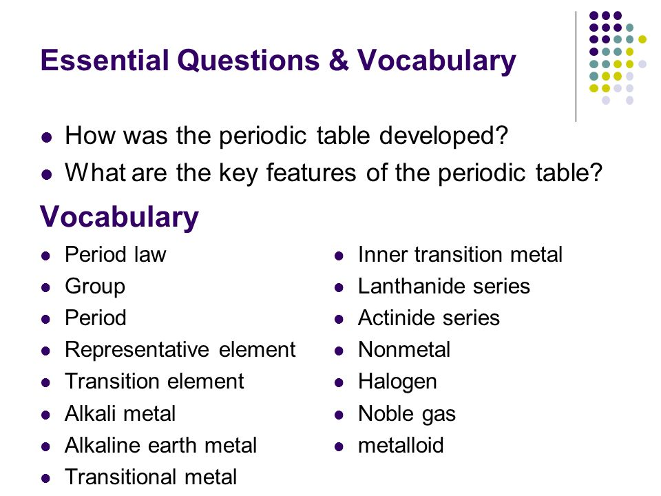 Periodic table and periodic law ppt video online download essential questions vocabulary urtaz Image collections