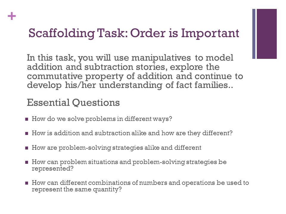 Scaffolding Task: Order is Important