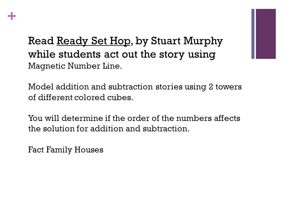 Thursday, April 24, 2014 Read Ready Set Hop, by Stuart Murphy while students act out the story using Magnetic Number Line.