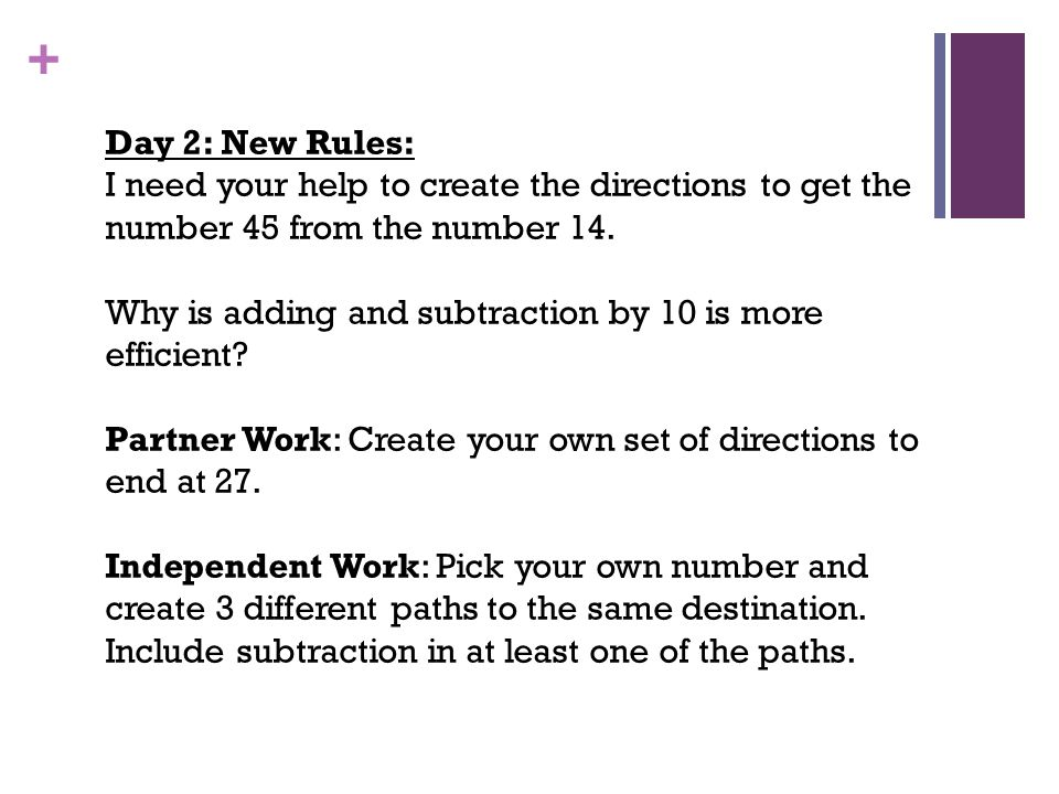 Day 2: New Rules: I need your help to create the directions to get the number 45 from the number 14.