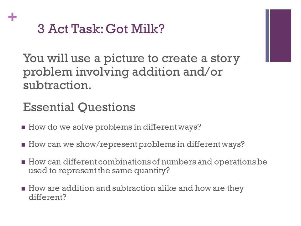3 Act Task: Got Milk You will use a picture to create a story problem involving addition and/or subtraction.