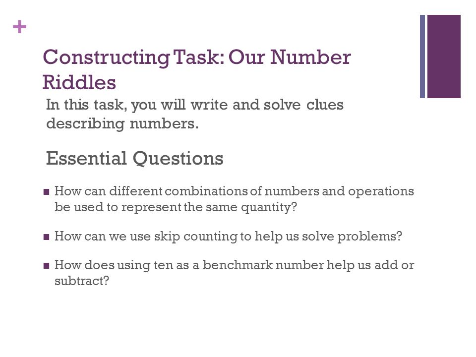 Constructing Task: Our Number Riddles