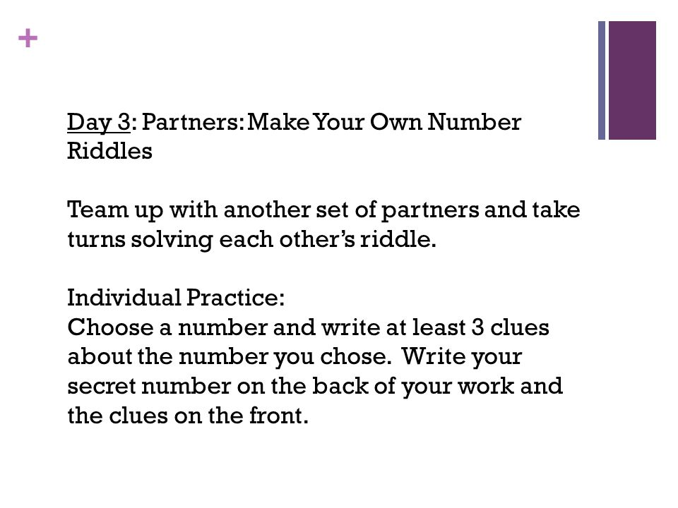 Day 3: Partners: Make Your Own Number Riddles