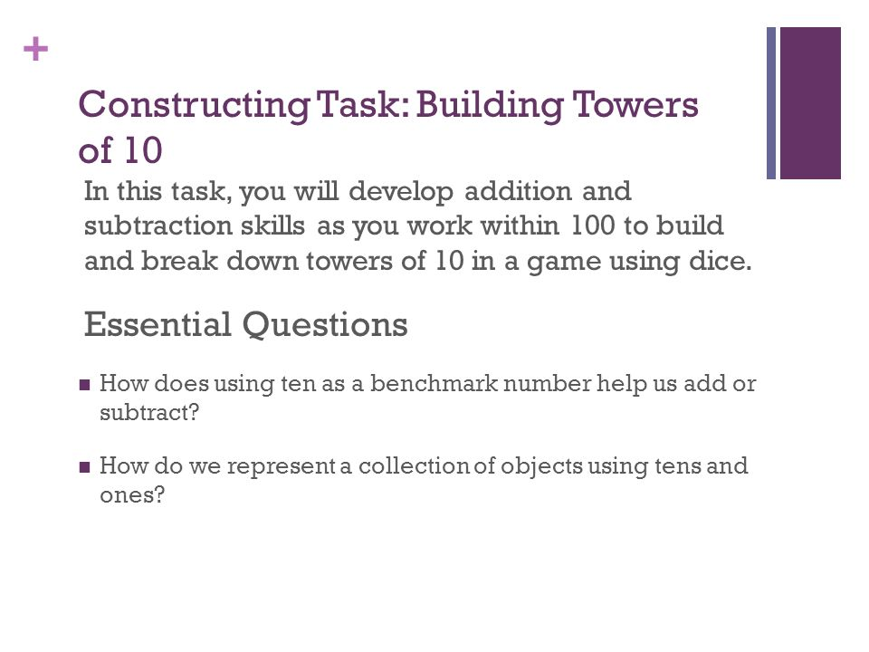 Constructing Task: Building Towers of 10