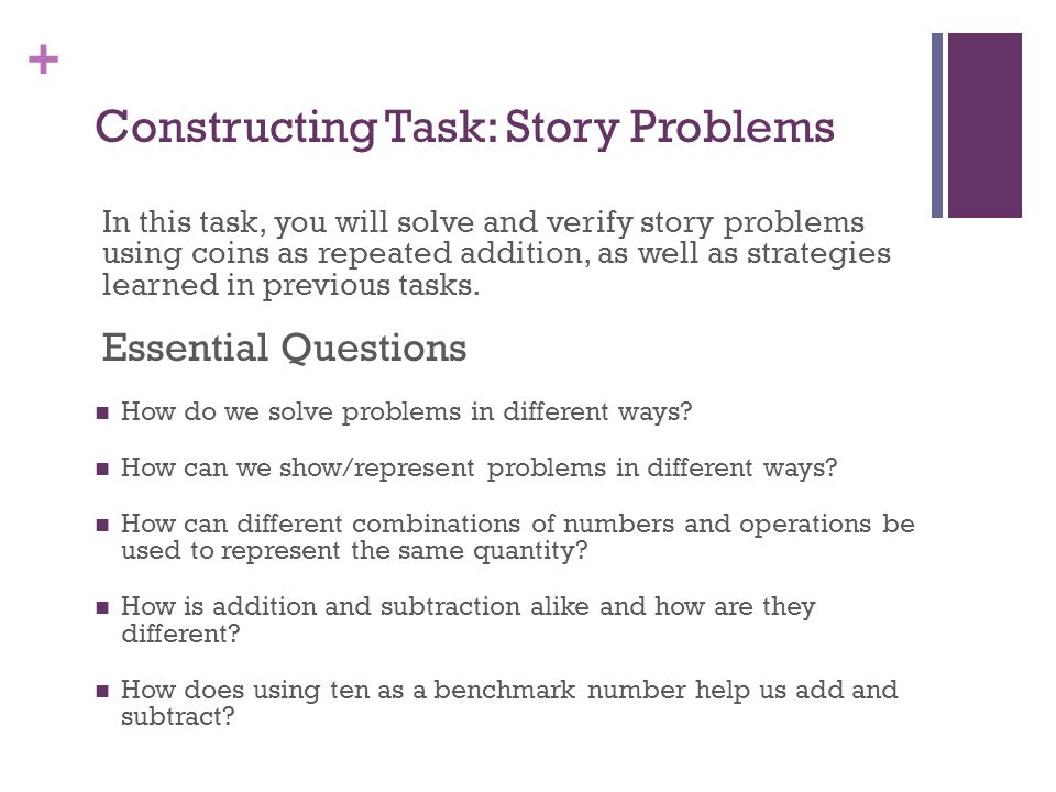 Constructing Task: Story Problems