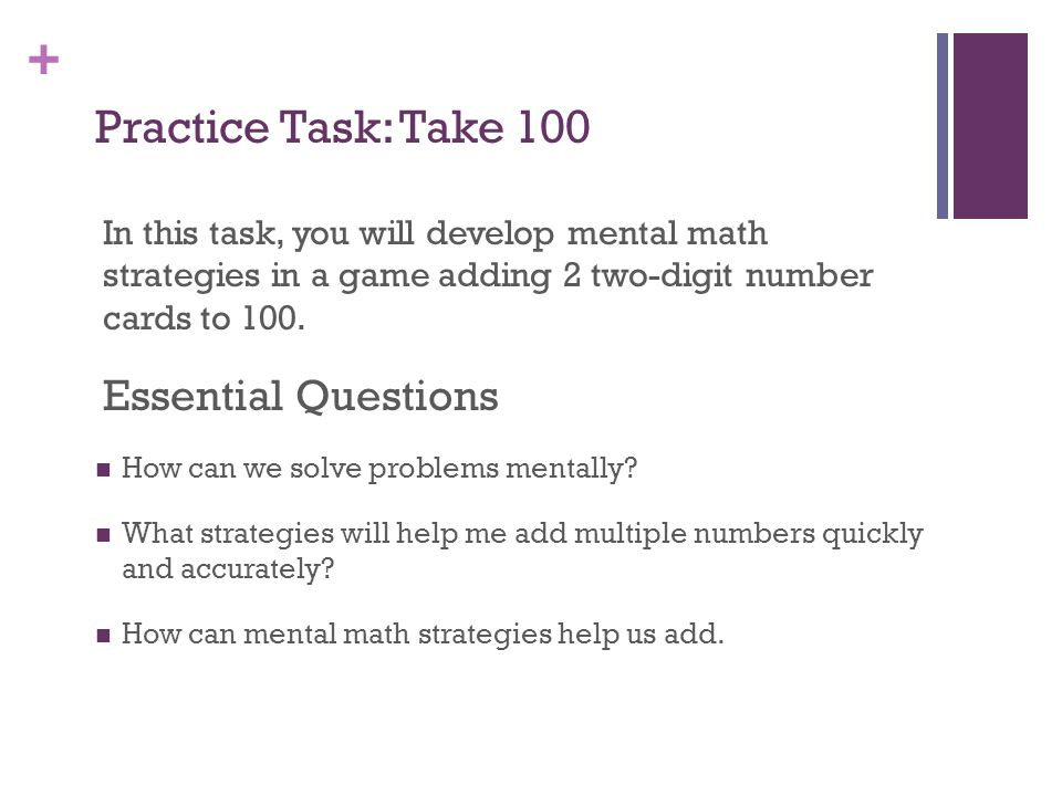 Practice Task: Take 100 Essential Questions
